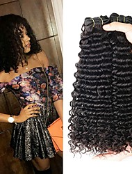 cheap -4 Bundles Brazilian Hair Curly Human Hair Natural Color Hair Weaves / Hair Bulk Extension 8-28 inch Natural Human Hair Weaves Best Quality New Arrival curling Human Hair Extensions / 8A