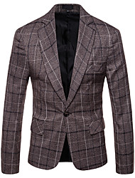 cheap -Men's Daily / Work Business / Basic Fall / Winter Plus Size Regular Blazer, Plaid Fantastic Beasts Shirt Collar Long Sleeve Cotton / Polyester Dark Gray / Light Brown / Business Casual / Slim