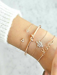 cheap -4pcs Women's Cubic Zirconia Chain Bracelet Cuff Bracelet Bracelet Layered Monogram Alphabet Shape Knot Ladies Vintage Fashion Elegant Rhinestone Bracelet Jewelry Gold For Daily Birthday
