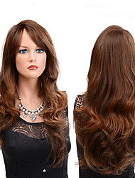 cheap -Synthetic Wig Wavy Middle Part Wig Long Brown Synthetic Hair Women's Party Classic Synthetic Brown