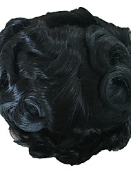 cheap -PANSY Indian Swiss Lace with PU Toupee Men's Hair Piece Wavy Hair System Bleached Knots 8x10inch Jet Black