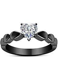 cheap -Couple's Couple Rings Engagement Ring thumb ring Crystal 1pc Black Alloy Round Ladies Sweet Fashion Engagement Gift Jewelry Vintage Style Sweet Heart Heart Lovely