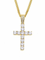 cheap -Men's Cubic Zirconia tiny diamond Pendant Necklace Chain Necklace Cuban Link Cross Stylish European Hip-Hop Hip Hop Copper Rhinestone Gold Silver 60 cm Necklace Jewelry 1pc For Gift Going out