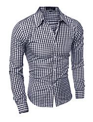 cheap -Men's Daily Work Business Shirt - Plaid Black / Long Sleeve