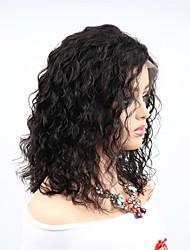 Недорогие -человеческие волосы Remy Полностью ленточные Парик Ассиметричная стрижка стиль Бразильские волосы Волнистый Черный Парик 130% 150% 180% Плотность волос Женский Легко туалетный Sexy Lady
