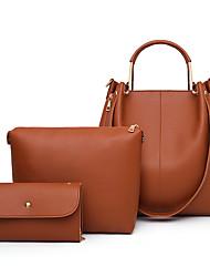 cheap -Women's Zipper PU Bag Set Solid Color 3 Pcs Purse Set Black / Brown / Blushing Pink
