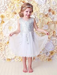 cheap -Baby Girls' Active / Basic Christmas Print Sequins Sleeveless Long Cotton Dress White / Toddler