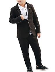 cheap -Kids Boys' Basic Daily Striped Solid Colored Long Sleeve Regular Regular Clothing Set Black
