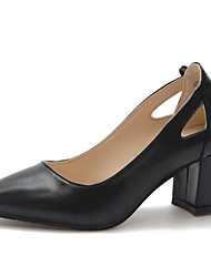 cheap -Women's Heels Chunky Heel Pointed Toe Bowknot Patent Leather Basic Pump Summer Black / Beige / Daily