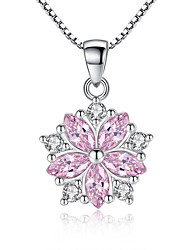 cheap -Women's Cubic Zirconia Pendant Necklace Classic faceter Flower Ladies Sweet Fashion Druzy Alloy White Pink 45 cm Necklace Jewelry 1pc For Wedding Party Daily Masquerade Engagement Party Prom