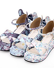cheap -Women's Lolita Shoes Princess Lolita Wedge Heel Shoes Pattern 5 cm White Purple Blue PU(Polyurethane) Halloween Costumes