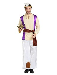 cheap -Arabian Costume Men's Adults Highschool Halloween Christmas Halloween Carnival Festival / Holiday Polyster Outfits Beige Solid Colored Halloween