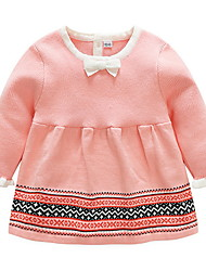 cheap -Baby Girls' Street chic Striped Long Sleeve Cotton Dress Blushing Pink / Toddler