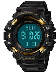 Недорогие -SANDA Муж. Спортивные часы электронные часы Японский Цифровой Стеганная ПУ кожа Черный 30 m Защита от влаги Календарь Хронометр Цифровой Роскошь Мода - Красный Зеленый Синий / Фосфоресцирующий