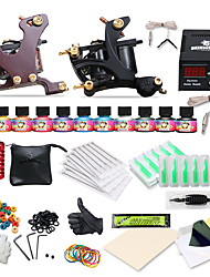 cheap -DRAGONHAWK Tattoo Machine Starter Kit, 2 pcs Tattoo Machines with 10 x 5 ml tattoo inks - 2 cast iron machine liner & shader