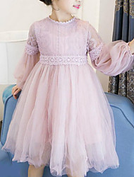 cheap -Kids Little Girls' Dress Patchwork Tulle Dress Daily Going out Mesh White Blushing Pink Long Sleeve Sweet Dresses Fall Spring