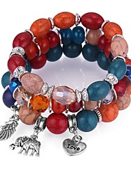 cheap -3pcs Women's Synthetic Tanzanite Bead Bracelet Beads Elephant Heart Ladies Vintage Ethnic Fashion Acrylic Bracelet Jewelry Rainbow / Red / Blue For Party Night out&Special occasion / Resin
