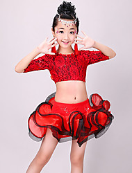 cheap -Latin Dance Outfits Girls' Training / Performance Polyester Lace / Ruching Half Sleeve High Skirts / Top
