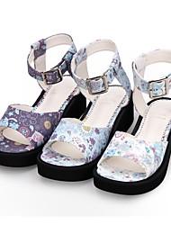 cheap -Women's Lolita Shoes Sandals Princess Lolita Wedge Heel Shoes Pattern 5 cm White Purple Blue PU(Polyurethane) Halloween Costumes