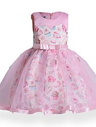 cheap -Kids Girls' Active Daily Geometric Print Sleeveless Above Knee Dress Blushing Pink