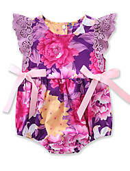 cheap -Baby Girls' Active / Basic Daily / Holiday Floral / Print Printing Sleeveless Bodysuit Purple / Toddler