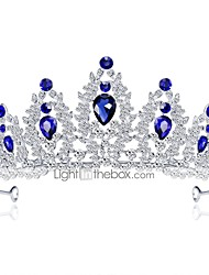 cheap -Women's Tiaras For Wedding Party Homecoming Royalty Beaded Cubic Zirconia Rhinestone Silver Plated Alloy Blue White