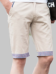 abordables -Homme Quotidien Plage Mince Chino / Short Pantalon - Couleur Pleine / Bloc de Couleur / Damier Mosaïque Coton Eté Bleu Marine Bleu clair Kaki 34 36 38