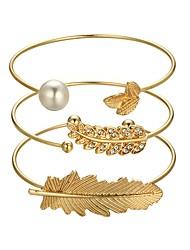 cheap -3pcs Women's Cuff Bracelet Vintage Style Leaf Feather Ladies Classic Vintage Fashion Imitation Pearl Bracelet Jewelry Gold For Daily Birthday / Rhinestone