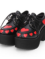 cheap -Women's Lolita Shoes Gothic Lolita Punk Gothic Wedge Heel Shoes Print Color Block 8 cm Black PU(Polyurethane) Halloween Costumes