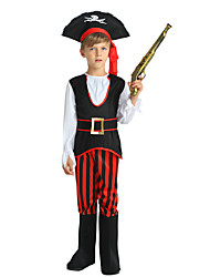 cheap -Pirate Costume Boys' Kids Halloween Halloween Carnival Children's Day Festival / Holiday Polyster Outfits Black Solid Colored Halloween