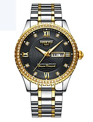 cheap -Men's Mechanical Watch Quartz Silver / Gold Calendar / date / day Compass Analog Casual - Golden Gold / Black Gold / White