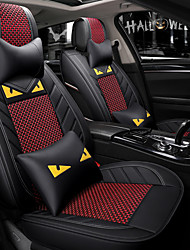 cheap -5 seats Black Red Cartoon car seat cover with two headrest and two waist cushions/PU leather and ice silk material/Airbag compatibility/Four Seasons Universal