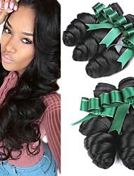 cheap -4 Bundles Malaysian Hair Wavy Human Hair Natural Color Hair Weaves / Hair Bulk Extension 8-28 inch Black Natural Color Human Hair Weaves Classic Best Quality New Arrival Human Hair Extensions / 8A