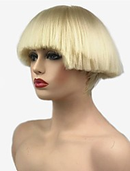 cheap -Synthetic Wig Straight Kardashian Bob Wig Short Light Blonde White Natural Black Red Synthetic Hair Women's Synthetic Black White StrongBeauty