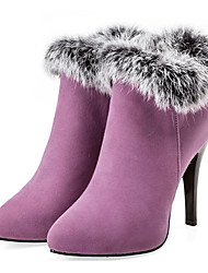 cheap -Women's Boots Party Heels Stiletto Heel Pointed Toe Feather Suede Booties / Ankle Boots Fashion Boots / Bootie Fall & Winter Black / Purple / Red / Wedding / Party & Evening / EU37
