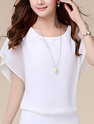 cheap -Women's Blouse Shirt Solid Colored Plain Round Neck Tops Basic Top White Black Blue