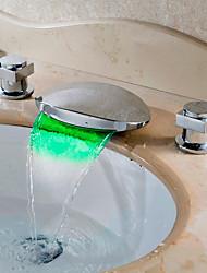 cheap -Bathroom Sink Faucet - Waterfall / LED Chrome Widespread Two Handles Three HolesBath Taps / Brass