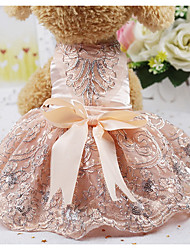 cheap -Rodents Dogs Cats Dress Dog Clothes Silver Pink Costume Husky Labrador Alaskan Malamute Silk Crystal / Rhinestone Party / Evening Ordinary XS S M L XL
