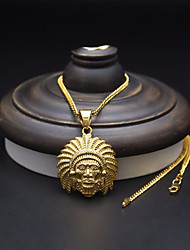 cheap -Men's Pendant Necklace Chain Necklace Stylish Cuban Link Face Faith Punk European Hip-Hop Copper Alloy Gold 60 cm Necklace Jewelry 1pc For Carnival Street
