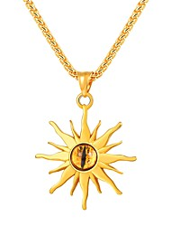 cheap -Men's Citrine Pendant Necklace Stylish Eyes Sunflower Stylish Fashion Stainless Steel EVA Resin Black Gold Silver 55 cm Necklace Jewelry 1pc For Gift Daily