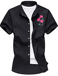 cheap -Men's Going out Weekend Plus Size Cotton Shirt - Geometric Embroidered Black / Short Sleeve
