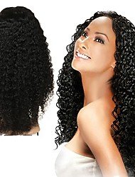 cheap -Human Hair Full Lace Wig Asymmetrical Rihanna style Malaysian Hair Curly Black Wig 130% 150% 180% Density with Baby Hair Odor Free Designers Woven New Arrival Women's Medium Length Human Hair Lace Wig