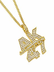 cheap -Men's AAA Cubic Zirconia Statement Necklace Long Number Letter Punk Casual / Sporty Fashion Iced Out Imitation Diamond Alloy Gold Silver 70 cm Necklace Jewelry 1pc For Carnival Club