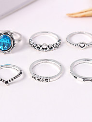 cheap -Women's Ring Set Midi Rings Stackable Rings 6pcs Silver Acrylic Alloy Oval Ladies Vintage European Causal Jewelry Retro Heart Crown