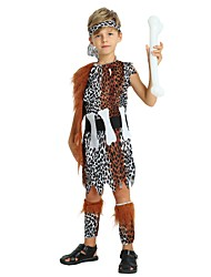 cheap -Primitive Costume Boys' Teen Halloween Halloween Carnival Children's Day Festival / Holiday Polyster Outfits Brown Solid Colored Spot Halloween