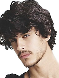 cheap -Men's Human Hair Toupees Wavy 100% Hand Tied Soft / Black