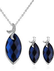 cheap -Women's Sapphire Necklace Earrings Stylish Leaf Ladies European Fashion Elegant Rhinestone Earrings Jewelry Dark Blue For Causal Daily