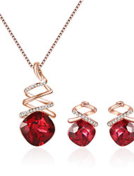 cheap -Women's Sapphire Necklace Earrings Crossover Ladies European Fashion Elegant Rhinestone Earrings Jewelry Purple / Red / Blue For Causal Daily