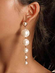 cheap -Women's Pearl Drop Earrings Long Drop Ladies Unique Design Bohemian Fashion Resin Gold Pearl Earrings Jewelry White For Wedding Party / Evening Gift Masquerade Engagement Party Prom 1 Pair