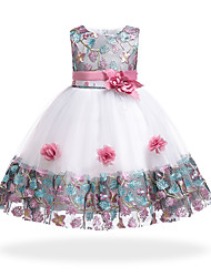 cheap -Kids Little Girls' Dress Floral Patchwork Flower Party Holiday Patchwork White Purple Red Knee-length Sleeveless Basic Sweet Dresses Summer 3-8 Years